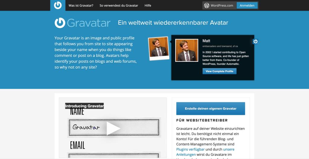Anmeldung auf der Gravatar-Webseite