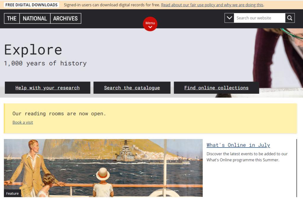 National Archives WordPress Seite